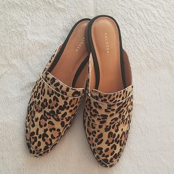Halogen Violet Leopard Mules